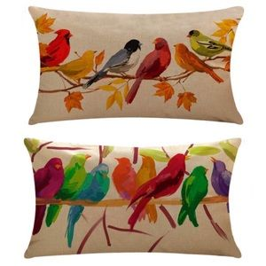 (2) Birds On Branch Print Throw Pillow Cover NWT